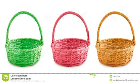 colored baskets three colored baskets royalty free stock images image