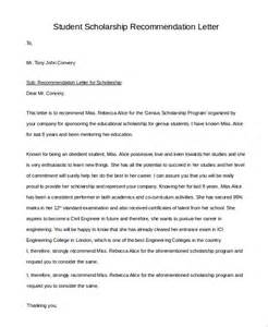 student recommendation letter sample scholarship