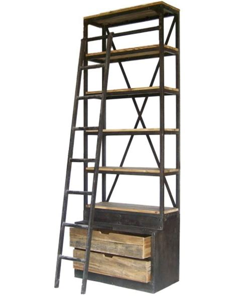 etagere 1 50 m biblioth 232 que 233 tag 232 re bois recycl 233 5 tablettes 2 tiroirs 1