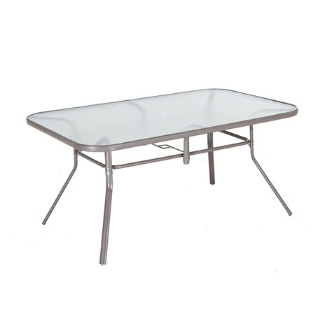 Patio Dining Table Only Shop Garden Treasures Driscol Glass Top Taupe Rectangle Patio Dining Table At Lowes