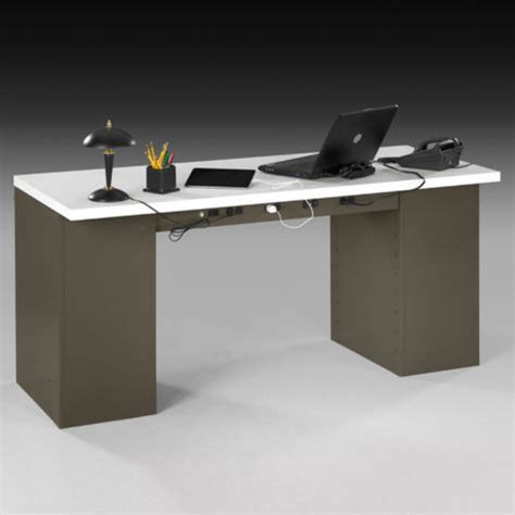 heavy duty office desk ped steel desk laminate top by tennsco