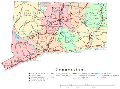 Printable Connecticut Road Map | connecticut printable map