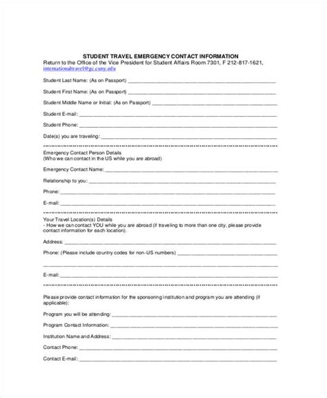 student contact form template 34 emergency contact forms
