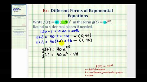 N E X T ex rewrite exponential functions y ab t to y ae kt