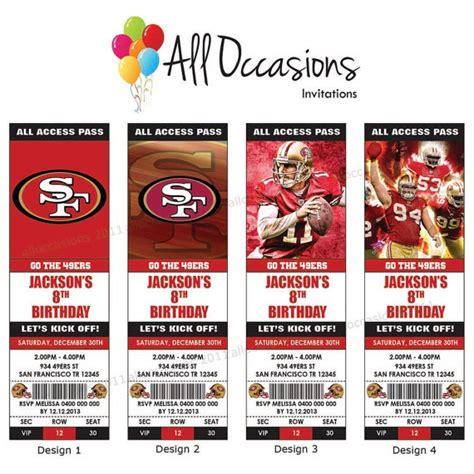 printable nfl tickets personalised custom nfl football san francisco 49ers