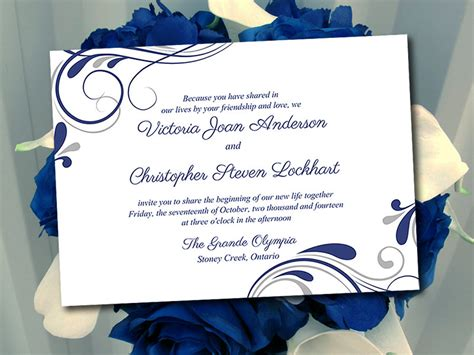 Wedding Invitation Template Winter Wedding Navy Blue Silver Navy Blue Wedding Invitation Templates