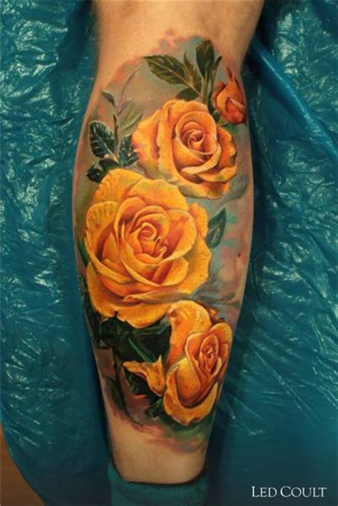 realistic calf flower tattoo by led coult