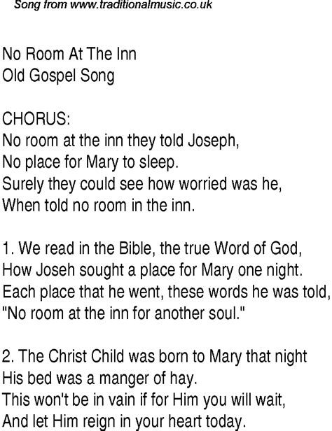 room lyrics no room at the inn christian gospel song lyrics and chords