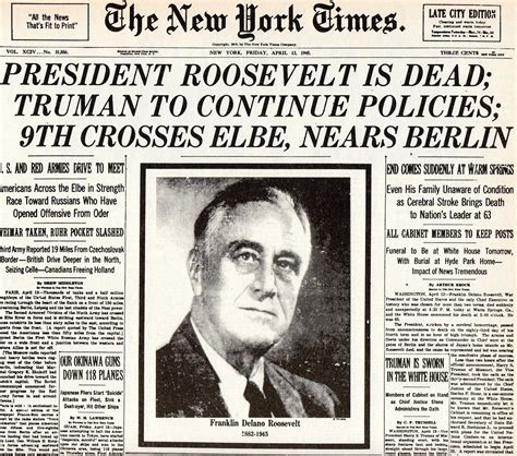 Who Was The President To Die In Office by 12th April 1945 President Franklin D Roosevelt Dies In
