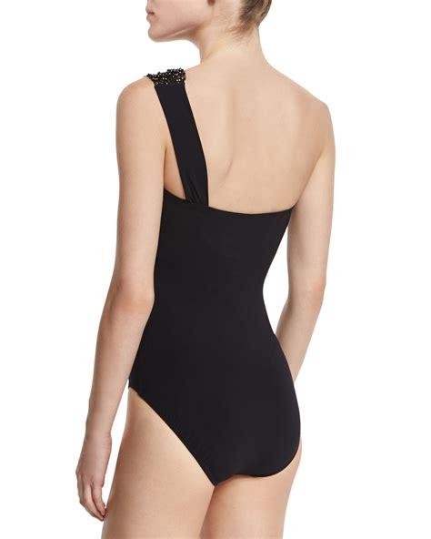Mesh One Swim Suit lyst gottex vintage glam rhinestone mesh one shoulder