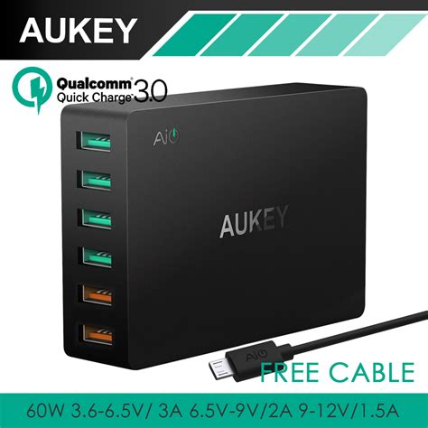 Travel Charger 2port Charging 3 0 Original Aukey Pa T16 T1910 3 aukey charge 3 0 6 port usb travel charger universal fast charger for samsung galaxy