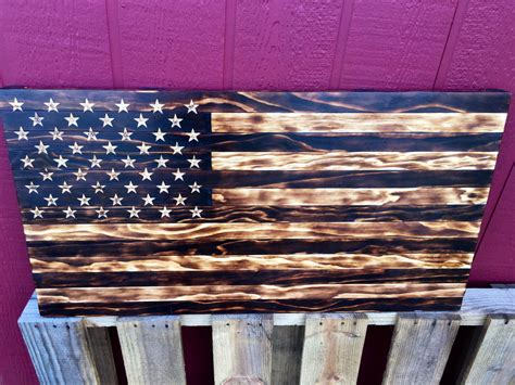Handmade American Flag - handmade burned wood american flag