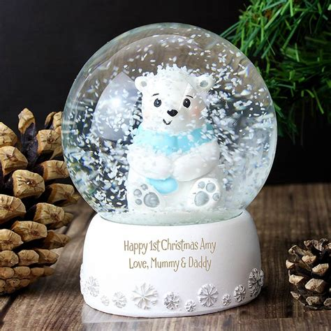 polar bear personalised christmas snow globe by chalk