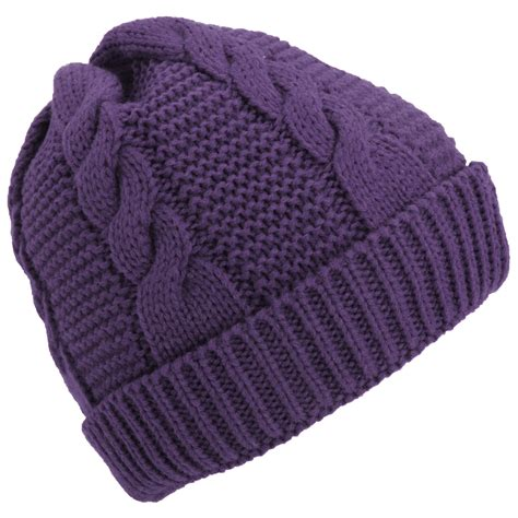 womens knit beanie womens cable knit fleece lined winter beanie hat ebay