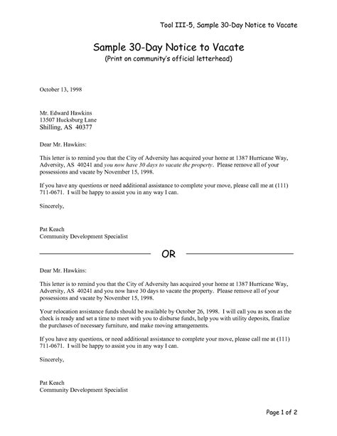 move out notice template best photos of 30 day eviction letter sle 30 day