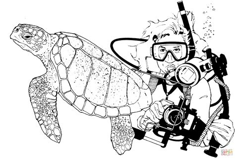green sea turtle and scuba diver coloring page free