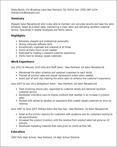 Resume For Receptionist In Hair Salon Professional Salon Receptionist Templates To Showcase Your Talent Myperfectresume