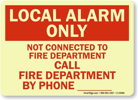 Lu Emergency local alarm only call department by phone sign sku