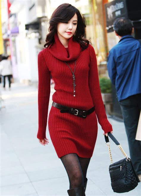 high quality long sleeve turtle neck sweater dress wine