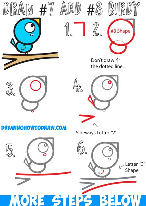 tutorial video numbers how to draw a bird on a branch easy for kids step by step