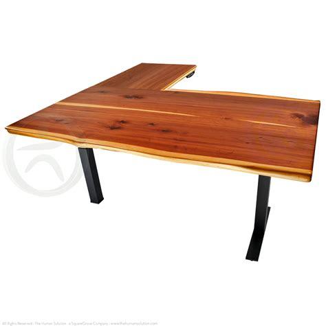 sit stand desk legs shop uplift 700 cedar solid wood sit stand 3 leg desks