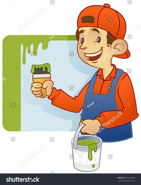 find a house painter cartoon illustration of a house decorator doing wall painting 102323083 shutterstock