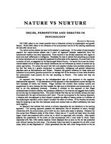 Essay About Nature by Nature Vs Nurture Issues Perspectives And Debates In Psychology A Level Psychology