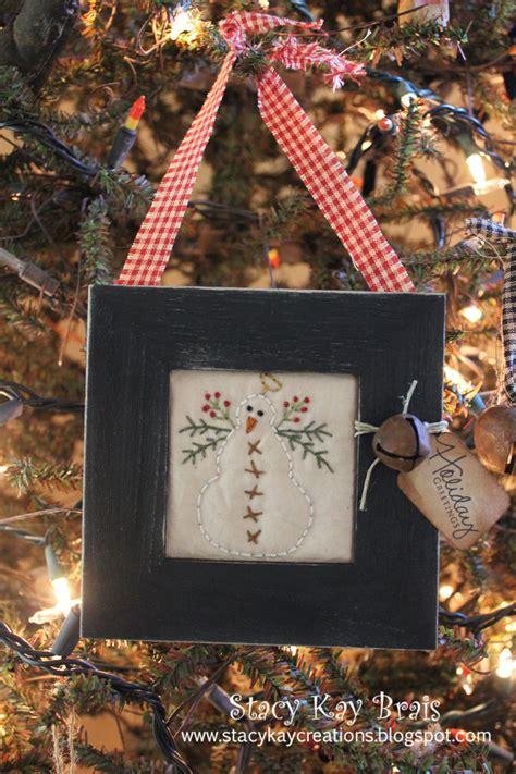 handmade primitive snowman christmas ornament holiday
