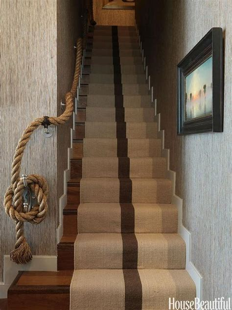 Handlauf Treppe Seil by Staircase With Rope Handrail And Jute Runner Cottage