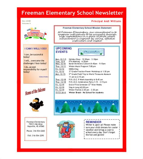 free newsletter templates pdf school newsletter template 9 word pdf psd documents