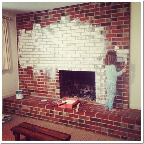 in grace painting a brick fireplace