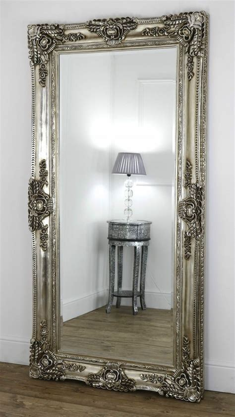 bedroom floor mirror ella chagne silver ornate leaner vintage floor mirror