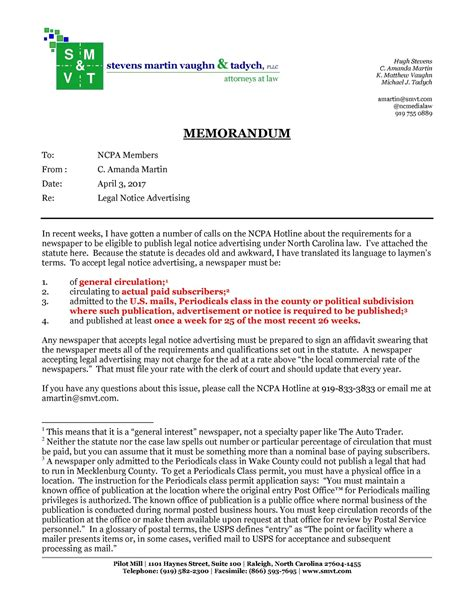 notice memo guideline to notice requirements carolina