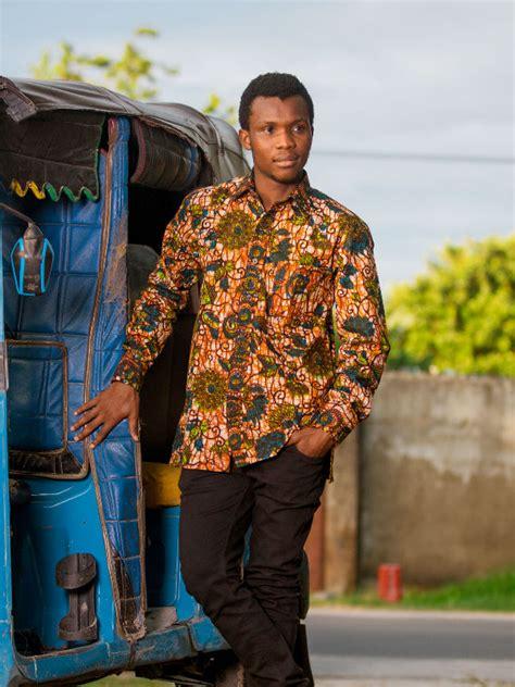 african kitenge shirts green floral african print long sleeve shirt mens