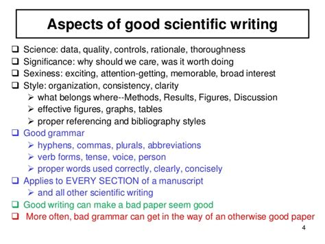 Writing Science mistakes in scientific writing