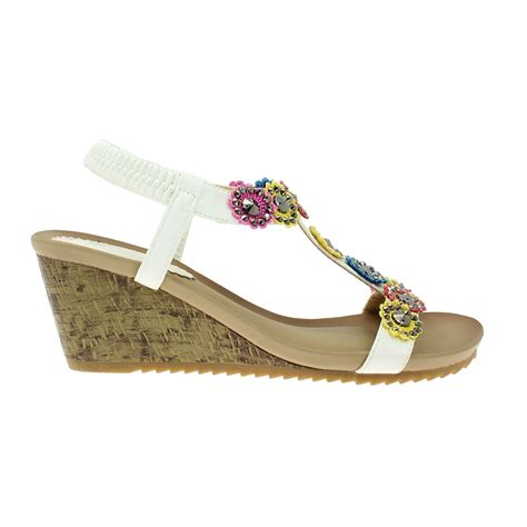 floral wedge sandals lunar anya floral wedge sandal elasticated ankle