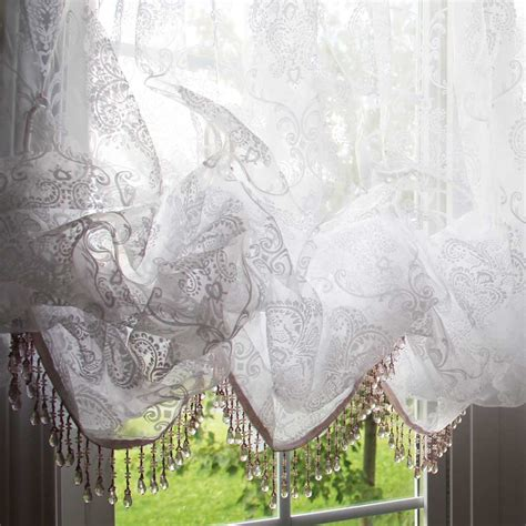White Balloon Curtains White Chic Fringe Bead Balloon Baroque Balloon Flocked Sheer Curtain With Attached Valance