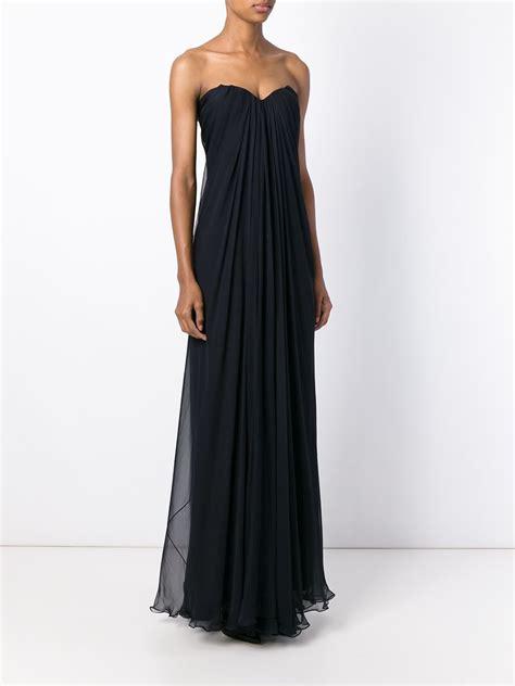draped evening dresses alexander mcqueen draped bustier evening dress in blue lyst