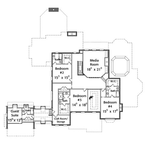 upper level floor plan of garage plan 7124 eat in kitchen colonial style house plan 5 beds 5 00 baths 7124 sq ft