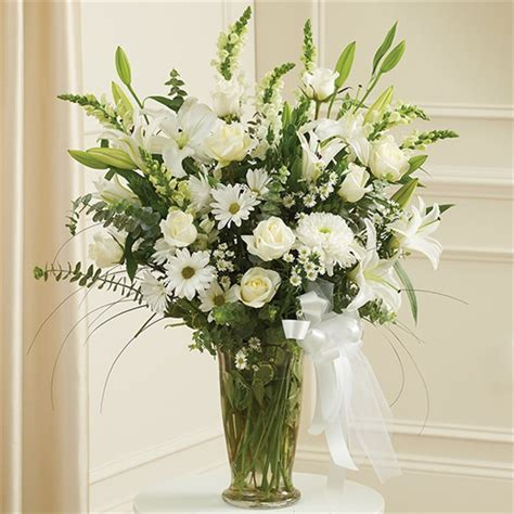 Large Vase Floral Arrangements by Large White Sympathy Vase Arrangement Nosegay Florist
