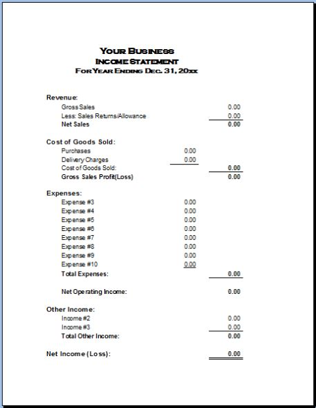 Format Of Income Statement | income statement exle basic accounting help