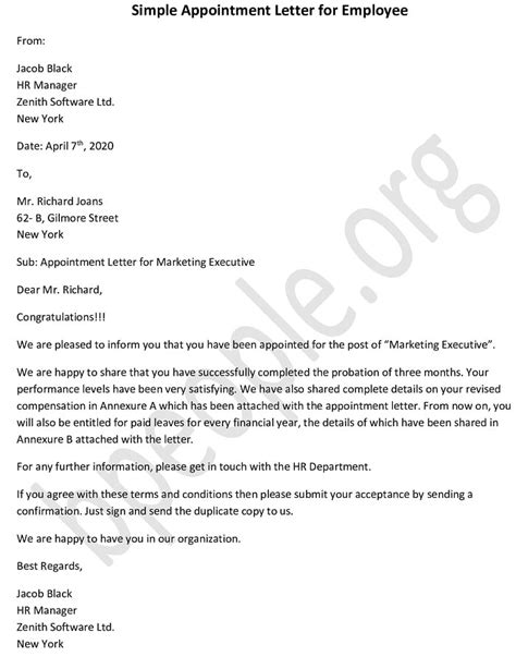 simple appointment letter employee sample
