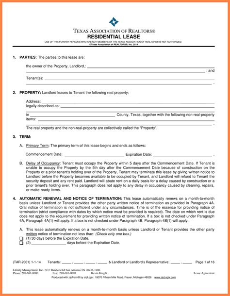 9 texas association of realtors lease agreement