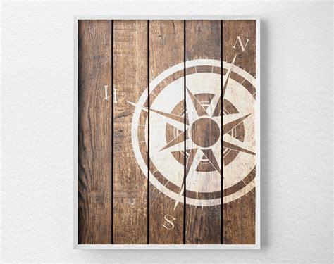 nautical compass compass print nautical decor rustic