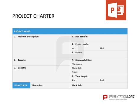 project template powerpoint project charter six sigma powerpoint templates http