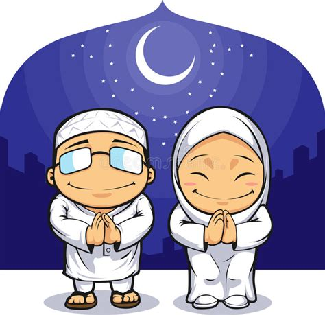 cartoon ramadan wallpaper cartoon of muslim man woman greeting ramadan stock vector