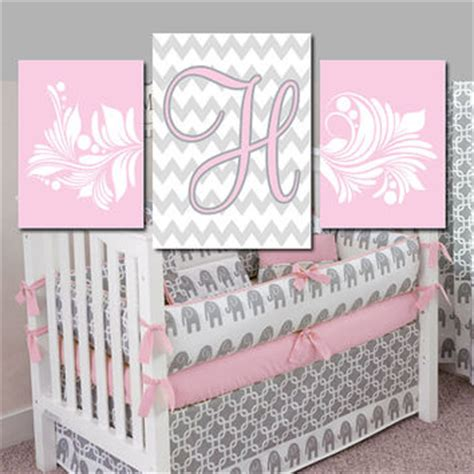Gray And Pink Nursery Decor Pink Gray Nursery Monogram Wall Baby Nursery Wall Bedroom Wall