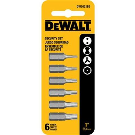 dewalt security bit set 6 dwa1sec6 the home depot