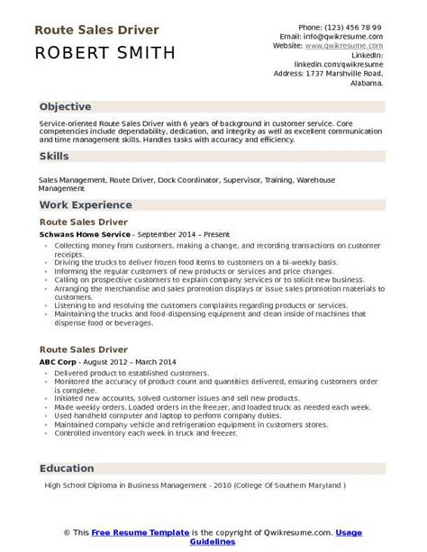 Route Driver Resume
