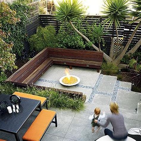 Modern Landscaping Ideas For Small Backyards Pit And Concrete Patio For Modern Landscaping Ideas For Small Backyards With L Shaped